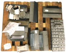 Pallet with folded work ready to finish and package