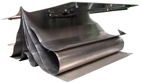 Aluminium folded and rolled 'magazine' coffee table