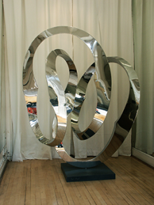 Mirror polished steel sculpture made for a local artist