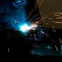 Sparks fly as our professional welders create quality, seamless welds.