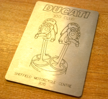 Engraved steel panel for a Ducati motorbike trophy