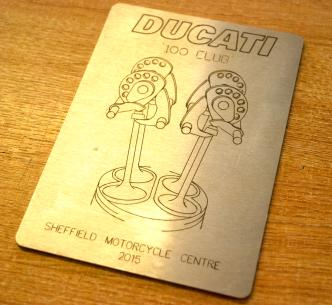 Engraved steel panel for a Ducati motorbike trophy