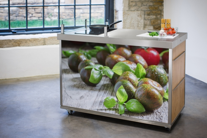 Stylish mobile kitchen unit created by Mette and produced by Freshlook